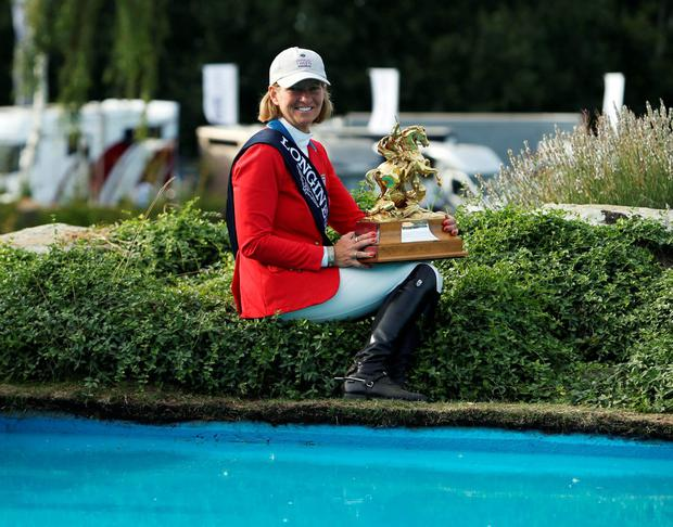 USA's Elizabeth Madden won the Longines King George V Gold Cup during day six of the Longines Royal International Horse Show at Hickstead, West Sussex.