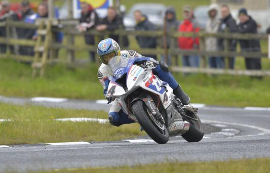 Super display: Guy Martin powers ahead in Ulster Grand Prix Superbikes practice last night at Dundrod