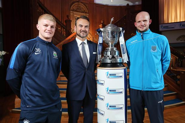 Pictured at the launch of the Danske Bank Premiership 2015-2016 season at Titanic Belfast with Gerry Mallon, CEO, Danske Bank is Dale Patton (Linfield) and Alan Blayney (Ballymena). Picture by Kelvin Boyes / Press Eye