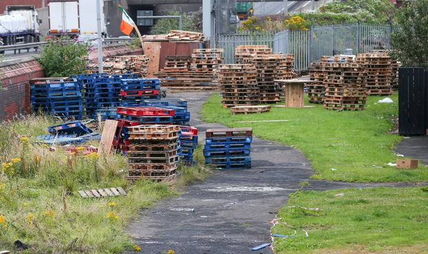 Bonfire wood collections in the Divis area of West Belfast