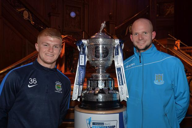 Raring to go: Ballymena United keeper Alan Blayney (right) at last night's launch with rising Linfield star, striker Dale Patton