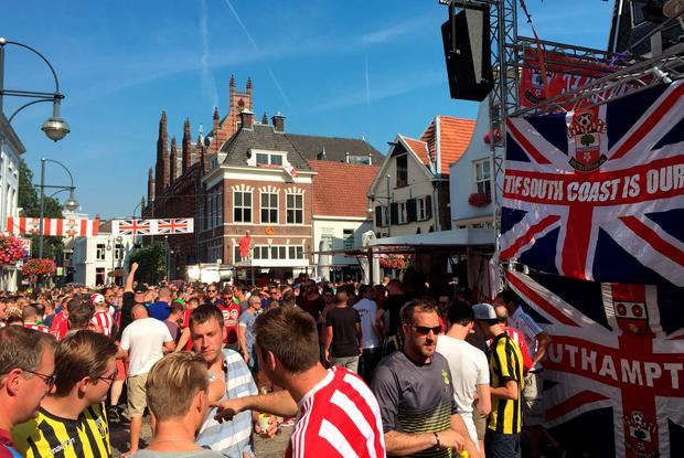 A view of of the scene in Arnhem, where fans have clashed ahead of the Europa League third qualifying round second leg between Vitesse Arnhem and Southampton. Photo: Simon Peach/PA