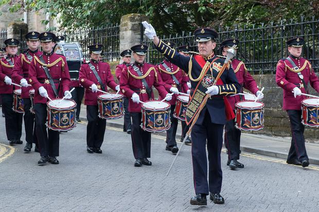 The William King Memorial Flute Band pictured at the annual Relief of Derry celebration. The event during which the Apprentice Boys of Derry parent clubs parade around the historic Walls of Londonderry marks the end of the Siege of the city which was the longest siege in British Military History. It is the largest parade by the Loyal Orders with up to 40,000 people and 140 bands taking part. Picture Martin McKeown. Inpresspics.com. 08.08.15