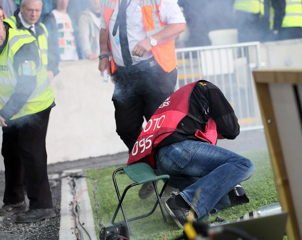 Press photographer Darren Kidd was struck by a firework