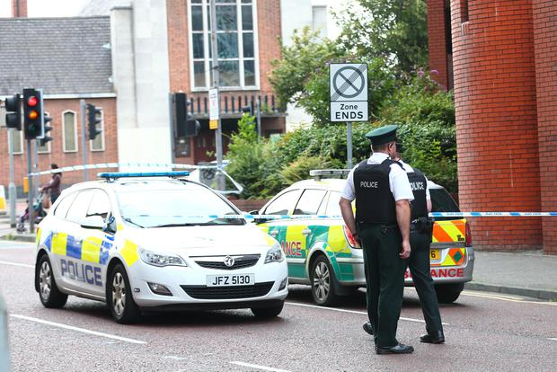 Police and ambulance crews at Castle Court in Belfast. Photo: Kevin Scott / Presseye