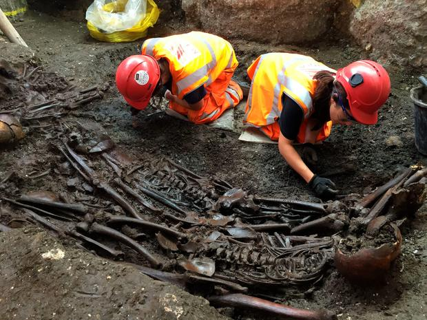 Archeologists at work at a mass burial site suspected of containing 30 victims of The Great Plague of 1665 has been unearthed at Crossrail's Liverpool Street site in the City of London