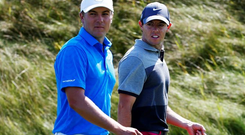 Jordan Spieth and Rory McIlroy walk together on the fifth hole during the first round of the 2015 PGA Championship