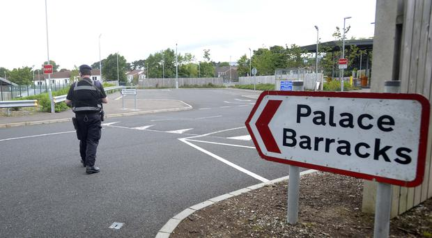The scene after a vehicle fire at Palace Barracks in Holywood, Co Down. Pic Pacemaker Press