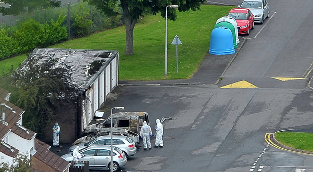 An Army bomb unit at the scene of the explosion at Palace Barracks