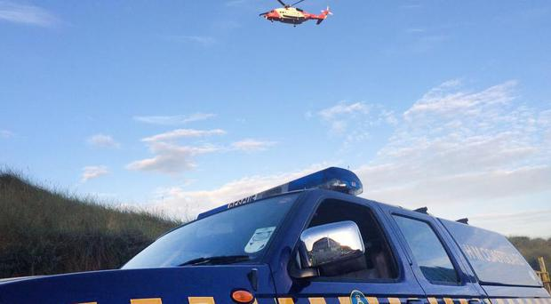 The Irish Coastguard helicopter from Sligo taking part in the search operation .Picture McAuley Multimedia