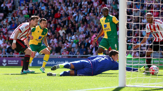 It's in: Norwich defender Russell Martin puts the ball past Sunderland keeper Costel Pantilimon to open the scoring on Saturday
