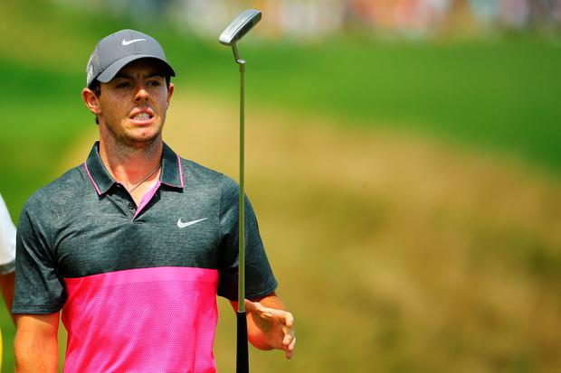 SHEBOYGAN, WI - AUGUST 16: Rory McIlroy of Northern Ireland walks off the second green during the final round of the 2015 PGA Championship at Whistling Straits at on August 16, 2015 in Sheboygan, Wisconsin. (Photo by Richard Heathcote/Getty Images)