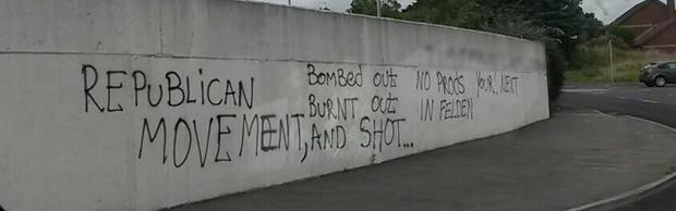 Graffiti appeared on a wall close to the the new development on the site of the former Felden training centre on the Mill Road on Sunday night. Pic: UUP