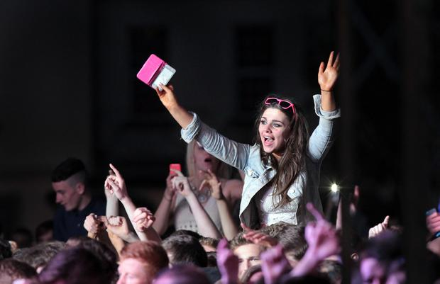 Music fans among the 10,000 people who attended the Club MTV event at Ebrington Square. Photo: Margaret McLaughlin