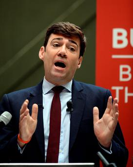 Labour leadership hopeful Andy Burnham delivers a speech in Manchester yesterday