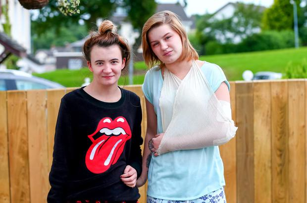 Sinead Quinn with friend Clodagh Orourke who was allegedly knocked unconscious during the attack. Picture: Kevin Scott