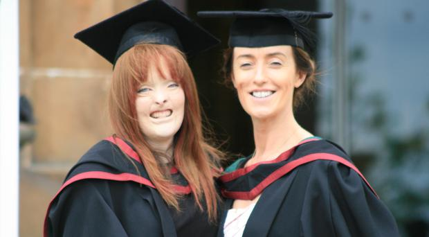 Melanie with her friend Helen Doherty at Ulster University's Magee campus