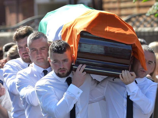 The funeral of former IRA man Kevin McGuigan takes place at St Mathew's Church in east Belfast. Mr McGuigan, 53, was shot dead outside his home in Short Strand. Pic Pacemaker