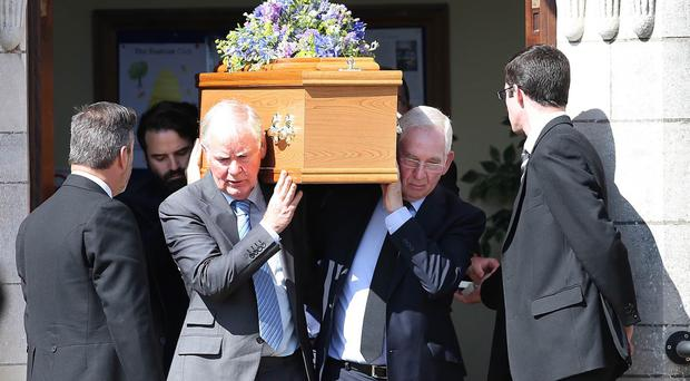 The funeral Oliver Scullion, who was killed in an accident at Hilden Brewery in Lisburn , at McCracken Memoral Presbyterian Church, Belfast.