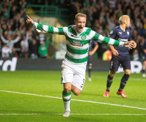 Celtic's Leigh Griffiths celebrates after scoring his side's third goal of the game during the UEFA Champions League Qualifying, Play-Off at Celtic Park, Glasgow. PRESS ASSOCIATION Photo. Picture date: Wednesday August 19, 2015. See PA story SOCCER Celtic. Photo credit should read: Jeff Holmes/PA Wire
