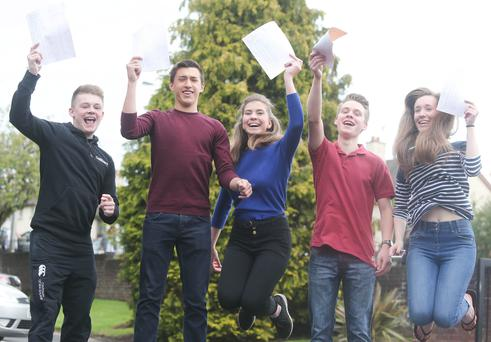 School pupils across Northern Ireland receive their GCSE results. Pupils at Ballyclare High School. Left to right. Jake McVicker, Patrick Dougan, Olivia Fleming, Christian Montgomery and Bethany Petrie Picture by Jonathan Porter/Press Eye