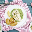 Fresh Cod with Pea Puree