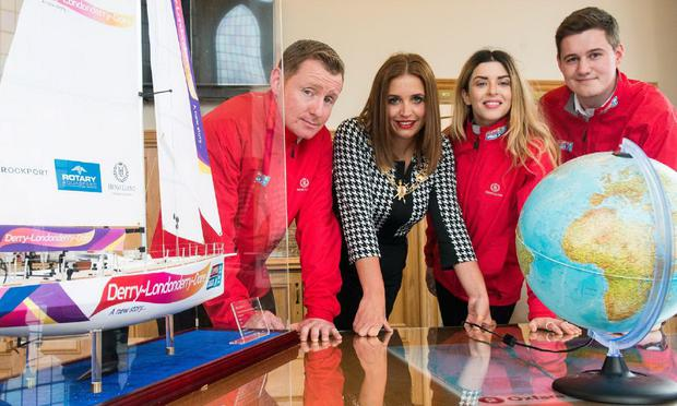 Derry City and Strabane District Council Mayor Elisha McCallion yesterdya with Clipper 2015-16 bursary winners Conor Shortland, Danny Bryce and Jilly St John. Photo: Martin McKeown