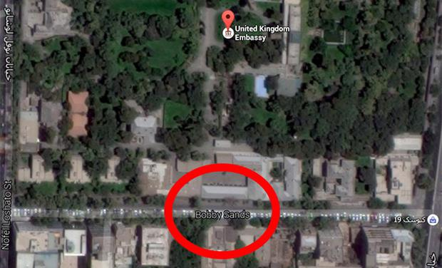 Iranian government changed the name of the street where the British Embassy is based from Winston Churchill Street to Bobby Sands Street in 1981. Image: Google Maps