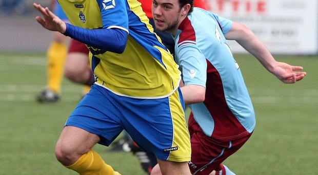 Step up: Andy Hall earned a move to Glenavon from Bangor