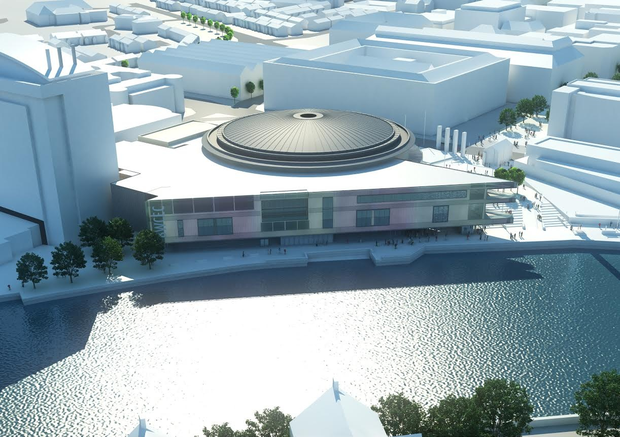 Belfast's Waterfront Hall: £30 million extension is due to be completed by next May. Above: artist's impression of how it will look upon completion