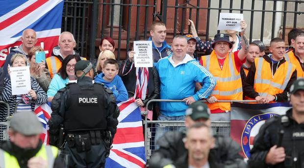 Loyalist protesters at Clifton Street Orange Hall. Pic: Jonathan Porter/Press Eye.