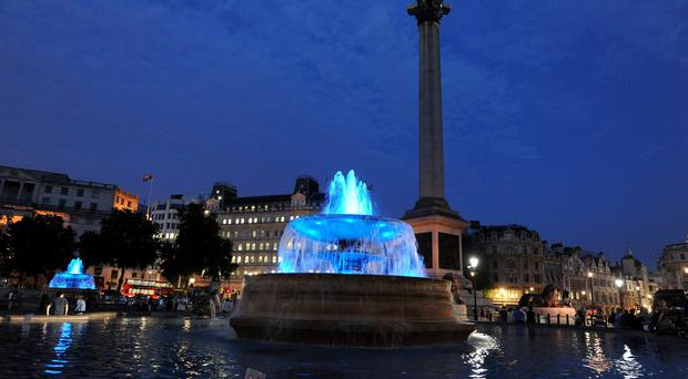 Two giant fingers have been installed in Trafalgar Square as part of four exhibitions taking place across the capital