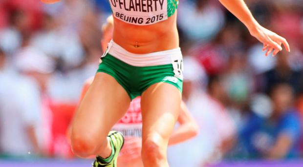 Upbeat: Kerry O'Flaherty was 13th in her steeplechase heat