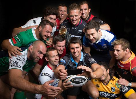 Ready to go: (L-R) Connacht's John Muldoon, Treviso's Alberto Demarchi, Zebre's George Biagi, Ulster's Paul Marshall, Munster's Dennis Hurley, Scarlets' Hadleigh Parkes, Glashow's Peter Murchie, Ospreys' Lloyd Ashley, Cardiff's Josh Navidi, Edinburgh's Mike Coman, Leinster's Kevin McLaughlin and Dragons' Rhys Thomas take a group selfie at the launch of the 2015-16 Guinness PRO12 season in London