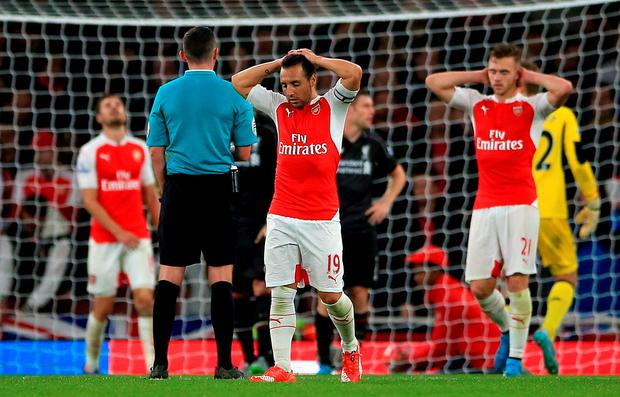 Arsenal's Santi Cazorla rues a missed chance last night