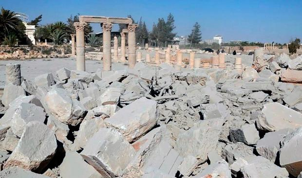 The demolished 2,000-year-old temple of Baalshamin in Syria's ancient caravan city of Palmyra. (Islamic State social media account via AP)
