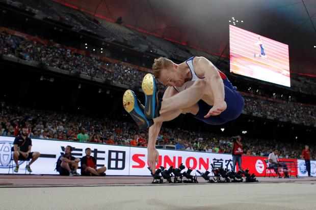 Britain's Greg Rutherford competes in the final of the men's long jump athletics event at the 2015 IAAF World Championships at the