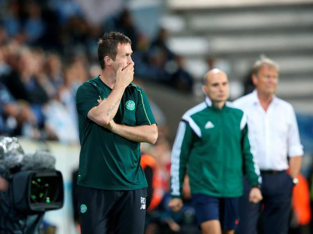 Celtic's Norwegian coach Ronny Deila watches play during the Champions League play-off second leg soccer match between Malmo FF and Celtic at Malmo New Stadium, in Malmo, Sweden, Tuesday, Aug. 25, 2015. (Andreas Hillergren/TT via AP) SWEDEN OUT