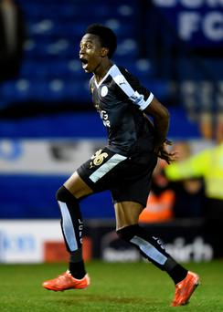 Crafty Fox Joseph Dodoo celebrates his hat-trick