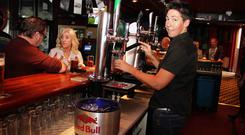 Claire Johnston pulls a pint at The Railway Arms in Coleraine.