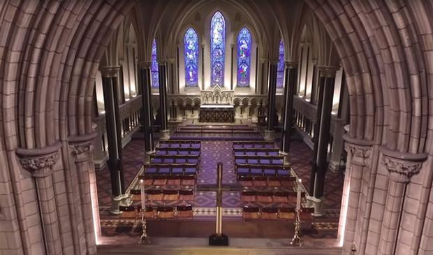St Patrick's Cathedral from a drone's perspective. Screengrab: Sky Pixels Ireland/YouTube
