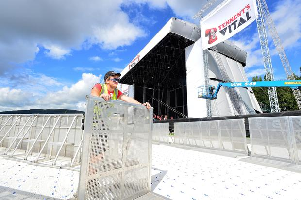 Justin Pankinas working on the fans area. Photo Arthur Allison/Pacemaker Press