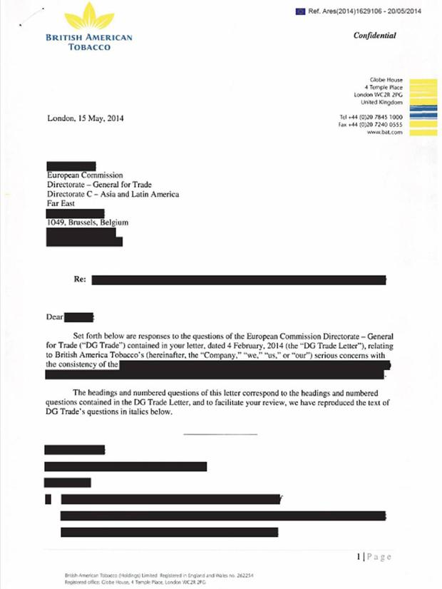 Page one of 14: Responding to a Freedom of Information request from an EU watchdog regarding contacts between officials and the tobacco industry, the European Commission released a set of documents that had been so heavily redacted as to be meaningless. In this 14-page letter from British American Tobacco from its London HQ, outlining its serious concerns with the consistency of [redacted], only five per cent of the text was visible.
