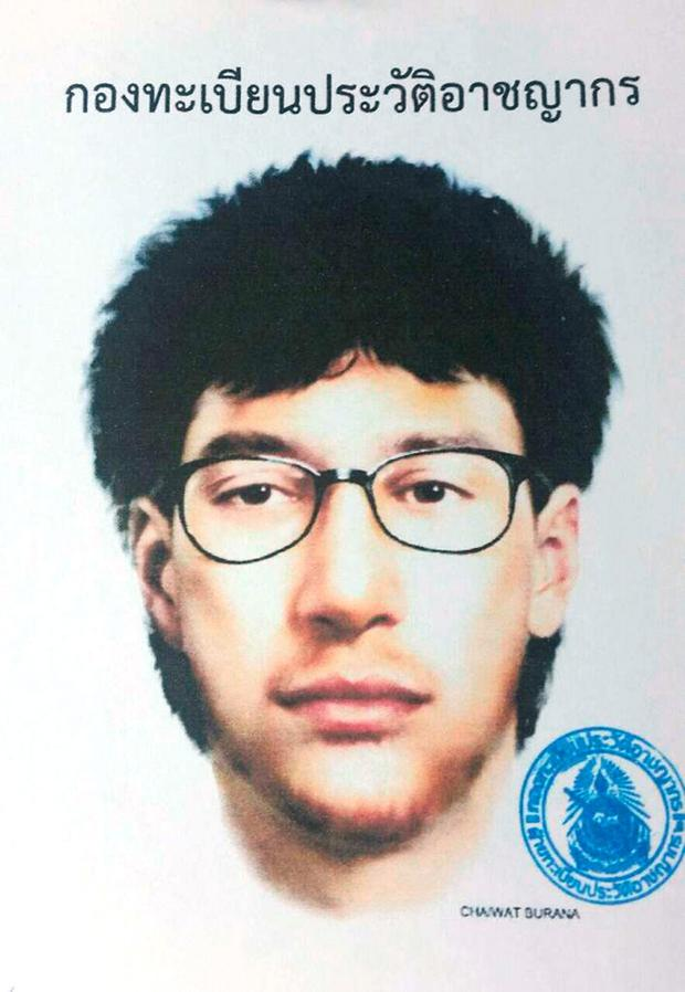 This image released by the Royal Thai Police on Wednesday, Aug. 19, 2015, shows a detailed sketch of the main suspect in a bombing that killed 20 people at the Erawan shrine in downtown Bangkok, on Monday.