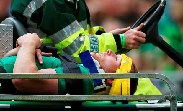 Ireland's Keith Earls is stretchered from the pitch during the World Cup Warm Up Match at the Aviva Stadium, Dublin.