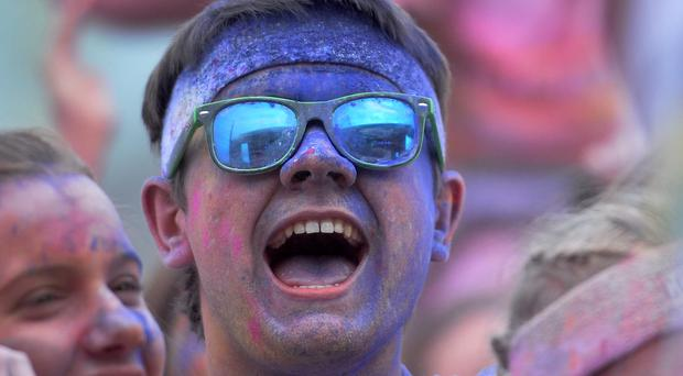 Runners take part in the Belfast 5k Colour Run at Titanic Belfast on Sunday Pic: Colm Lenaghan/Pacemaker.