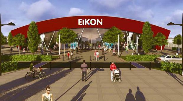 A designers drawing of the new Eikon Exhibition Centre at the former Maze prison site