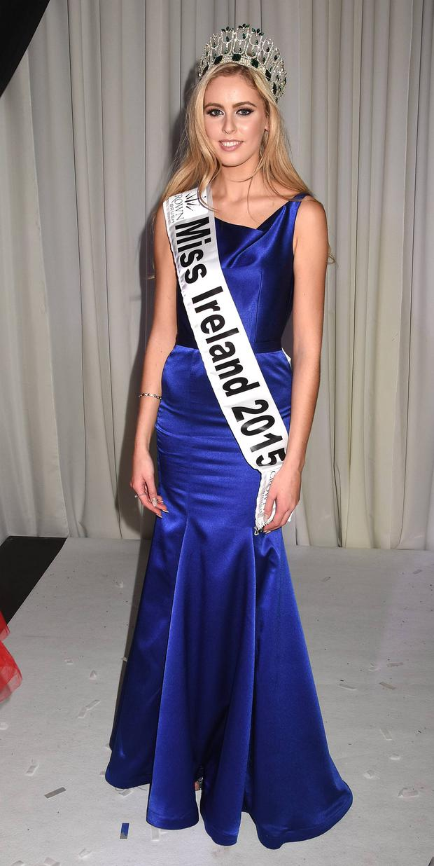 Miss Antrim Sacha Livingstone is crowned Miss Ireland 2015 at the Crowne Plaza Hotel in Dublin at the weekend