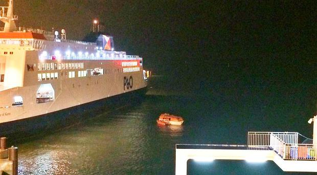 A lifeboat involved in a blockade at the Port of Calais, as cross-channel ferry services have reopened following a fresh blockade at the port which disrupted the bank holiday journeys of thousands of passengers. Photo from the Twitter feed of @JamesGritt