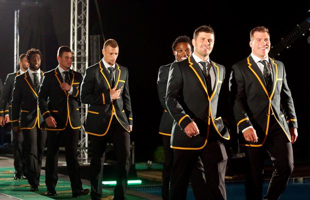 South African rugby players arrive to attend the 2015 South Africa Rugby World Cup Squad announcement and press conference at the Beverly Hills Hotel, in Durban, on August 28,2015.